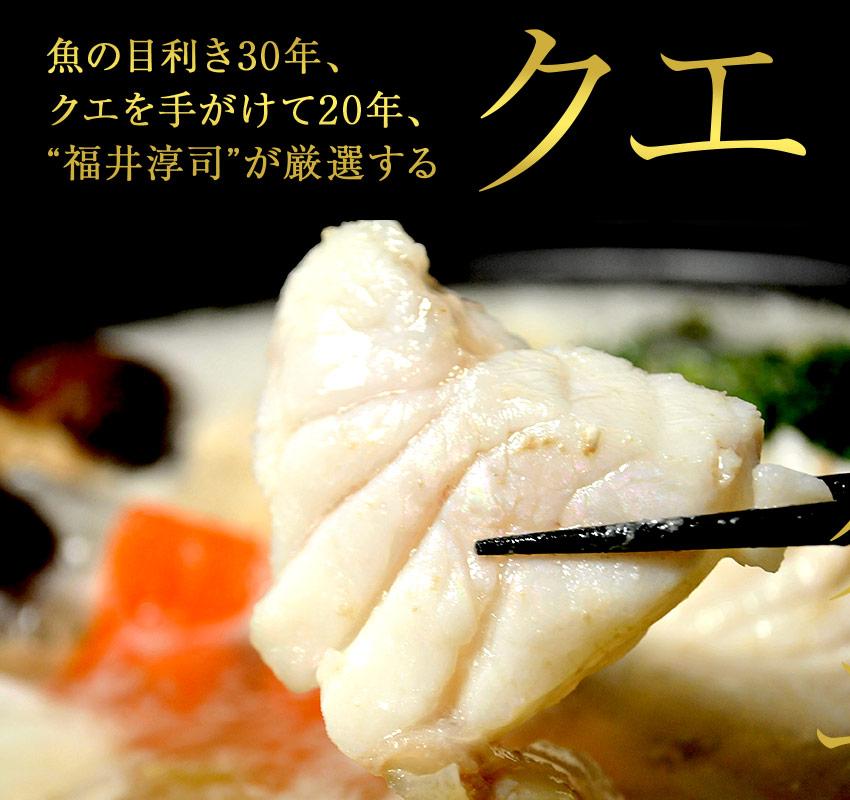 「クエより美味しい魚はない」と称される究極の高級魚。福井鮮魚「クエ」。