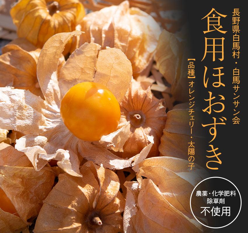 農薬・化学肥料・除草剤すべて不使用 長野県白馬村・サンサン会「食用ほおずき」オレンジチェリー・太陽の子