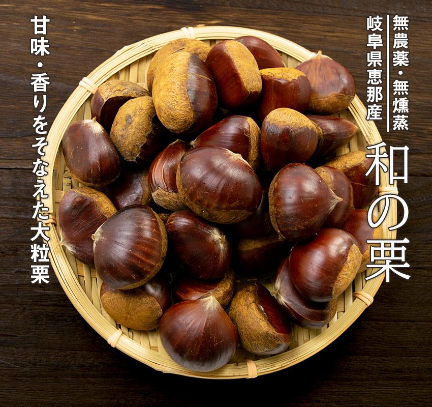 無農薬・無燻蒸 岐阜県恵那産「和の栗」甘味・香りをそなえた大粒栗